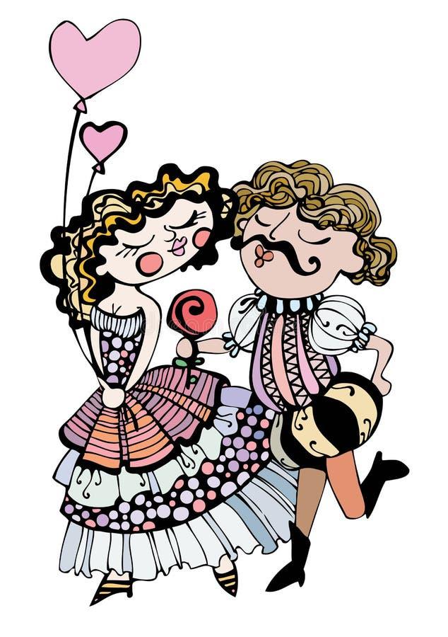 Liebevolle Paare. lizenzfreie abbildung