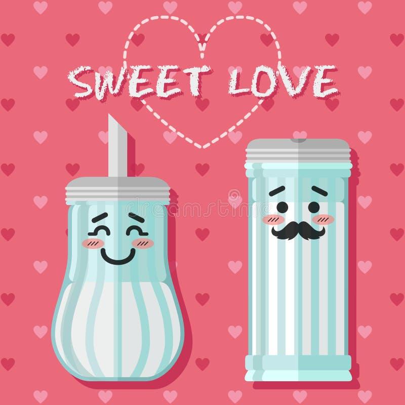 Liebevolle Paare der Zuckerschüssel stock abbildung