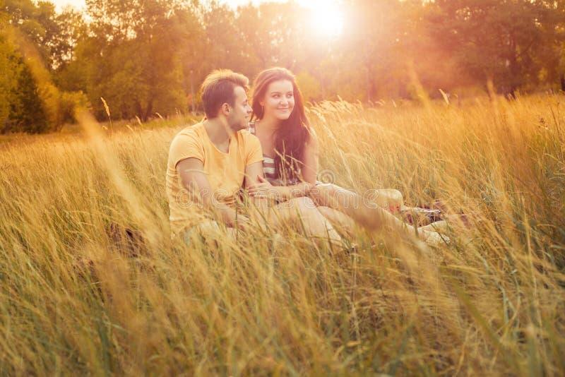 Liebevolle Paare, die sich auf Blumenfeld im herbstlichen Park, warm hinlegen lizenzfreies stockfoto