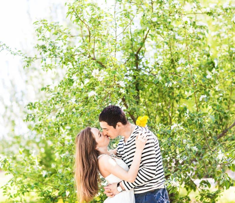 Liebevolle Paare unter blühendem Niederlassungsfrühlingstag Junger erwachsener Brunettemann und -frau, die im frischen Blütenapfe stockbild