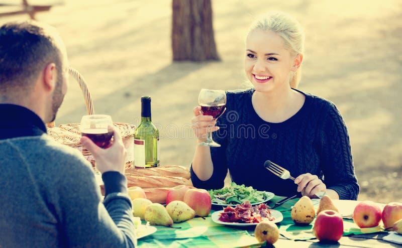 Liebevoller junger lächelnder trinkender Wein der Paare lizenzfreie stockfotografie