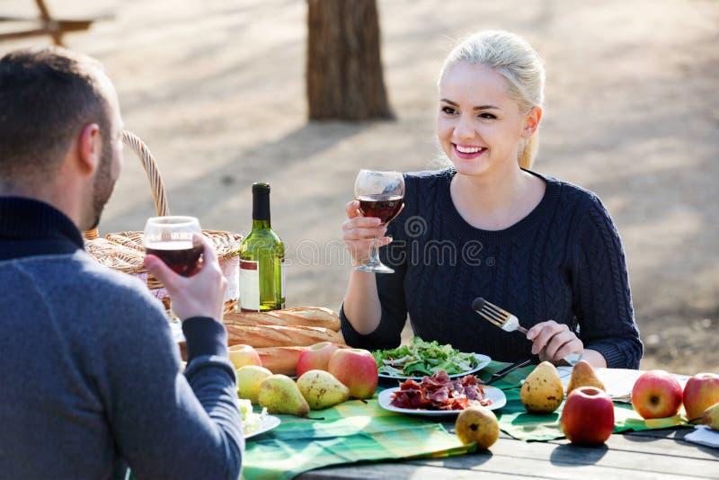 Liebevoller junger lächelnder trinkender Wein der Paare stockbild