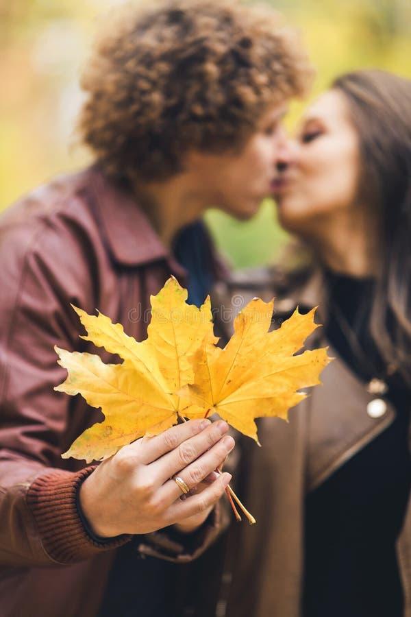 Liebevolles glückliches Paar im Herbst im Park, der Herbstahornblätter in den Händen hält lizenzfreies stockbild