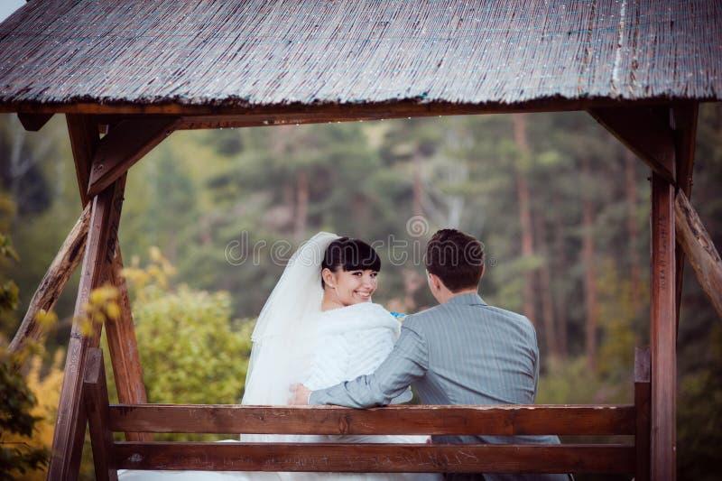 Liebevolles Hochzeitspaar sitzt auf einer Bank stockfotografie