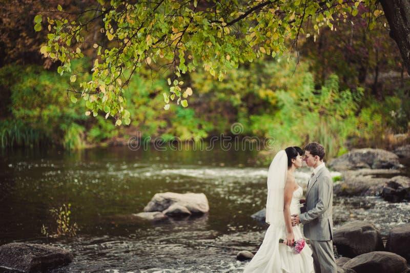 Liebevolles Hochzeitspaar steht das Wasser bereit lizenzfreies stockfoto