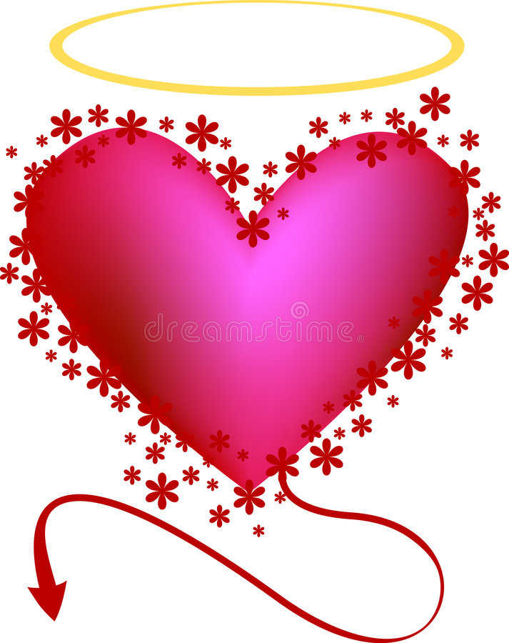 Liebevolles Inneres, Engel oder Übel? vektor abbildung