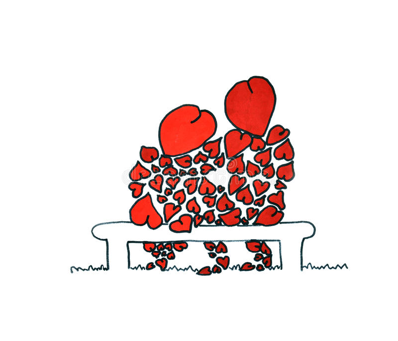 Liebhaber auf einer Bank stock abbildung
