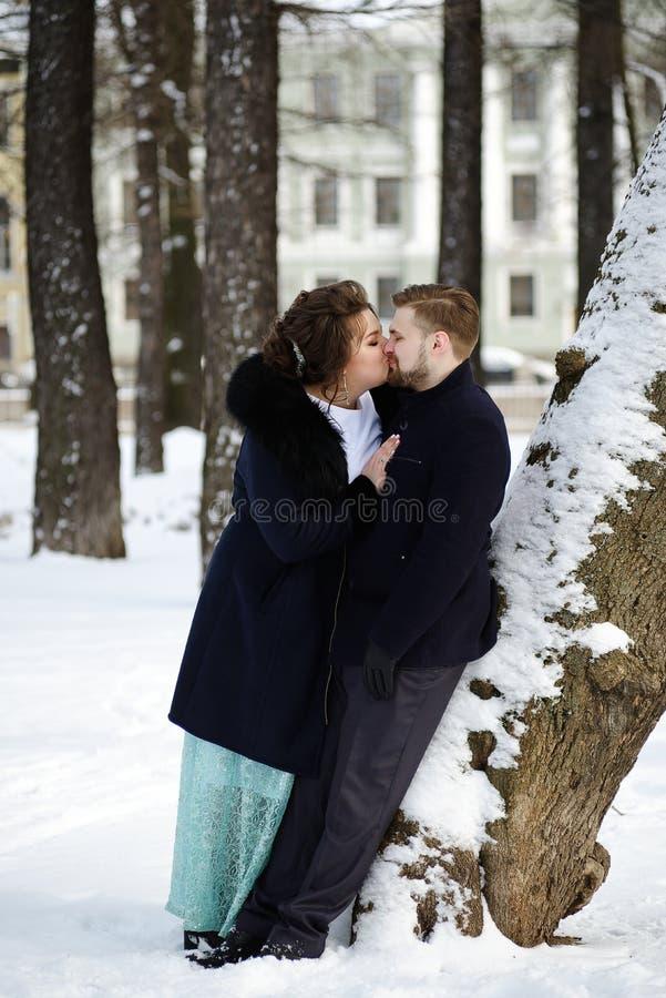 Liebhaber Braut und Bräutigam am Wintertag lizenzfreie stockbilder