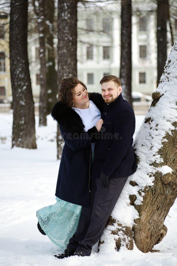 Liebhaber Braut und Bräutigam am Wintertag stockfotografie