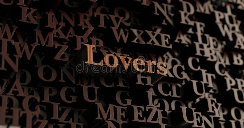 Liebhaber - hölzernes 3D übertrug Buchstaben/Mitteilung lizenzfreie abbildung
