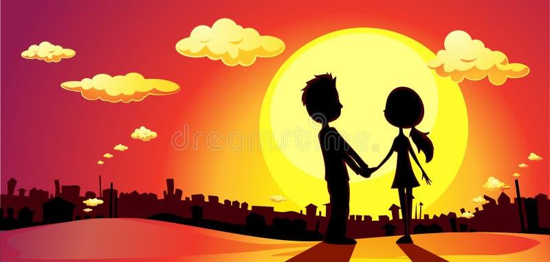 Liebhaber silhouettieren im Sonnenuntergang - Vektor lizenzfreie abbildung