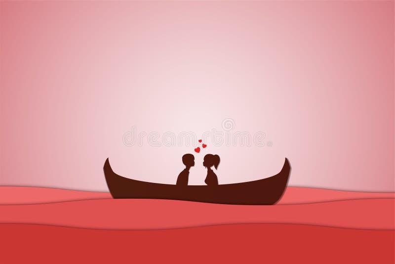 Liebhaber sitzen auf einem Boot mitten in dem Meer und haben einen Sonnenuntergang, Papierkunstpaarflitterwochen, Valentinstagdat vektor abbildung