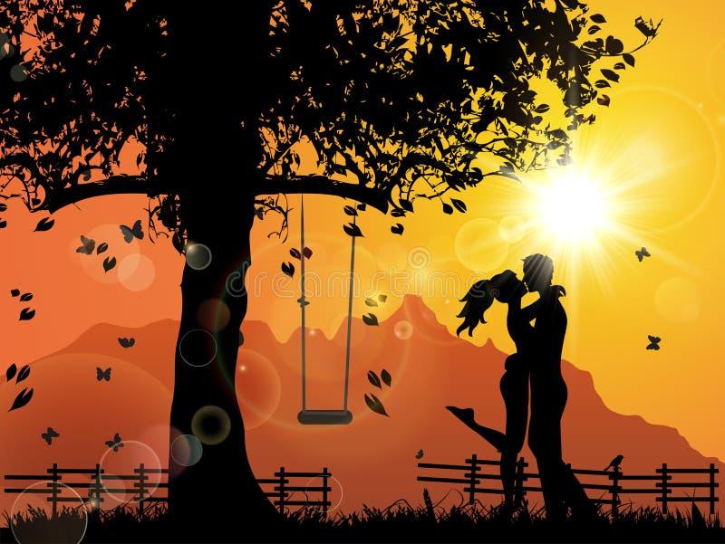 Liebhaber unter Sonnenuntergang lizenzfreie abbildung