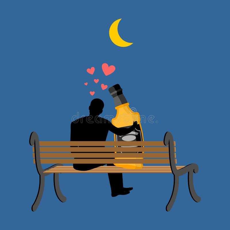 Liebhaberalkoholgetränk Mann und Flasche Whisky sitzend auf Bank lizenzfreie abbildung