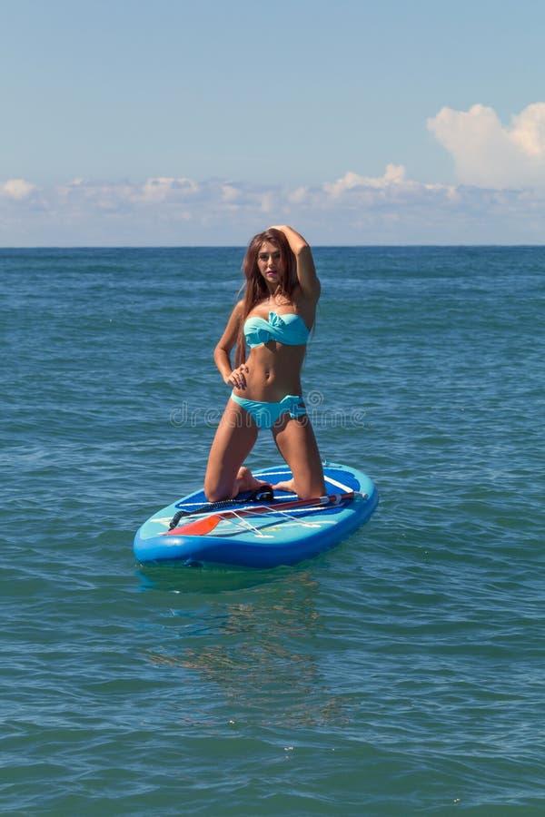 liebhaberei Das gesunde glückliche athletische Mädchen im Wetsuit an schaufelnd stehen oben Paddel SUP Brett im Ozean Sommer-Spaß lizenzfreie stockbilder