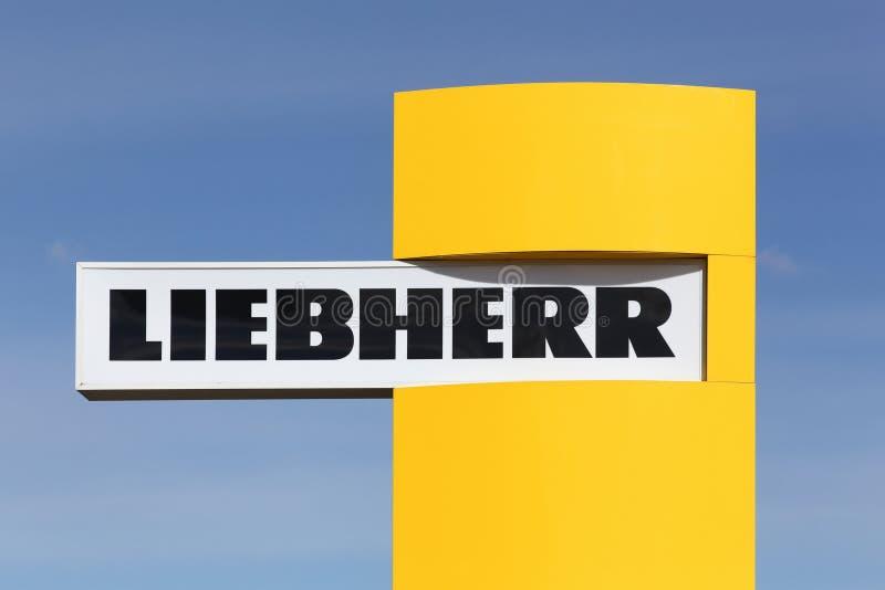 Liebherr-Logo auf einer Platte stockfotografie