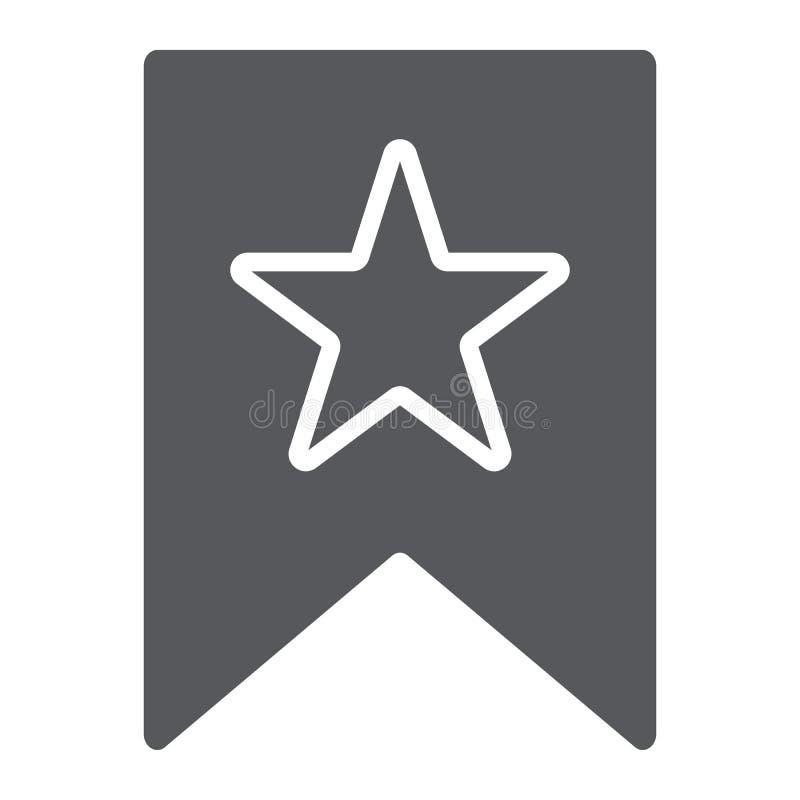 Lieblinge Glyphikone, -kennzeichen und -liebling, bookmarken mit Sternzeichen, Vektorgrafik, ein festes Muster auf einem weißen vektor abbildung