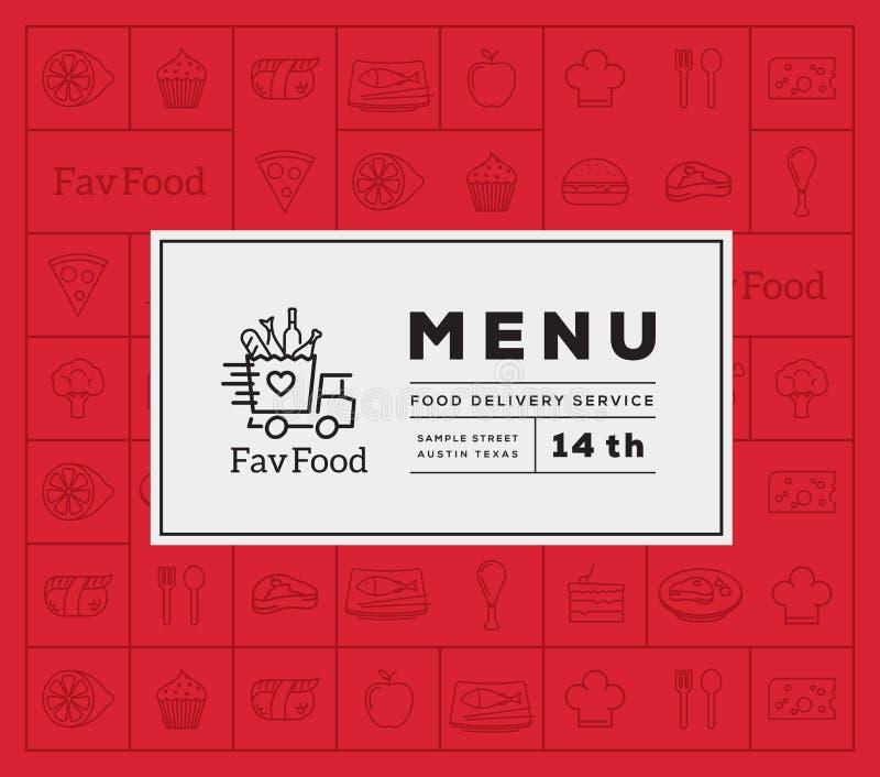 Lieblingslebensmittel-Lieferungs-Zusammenfassungs-Vektor Logo And Menu Cover mit Linie Art-Ikonen-Muster vektor abbildung