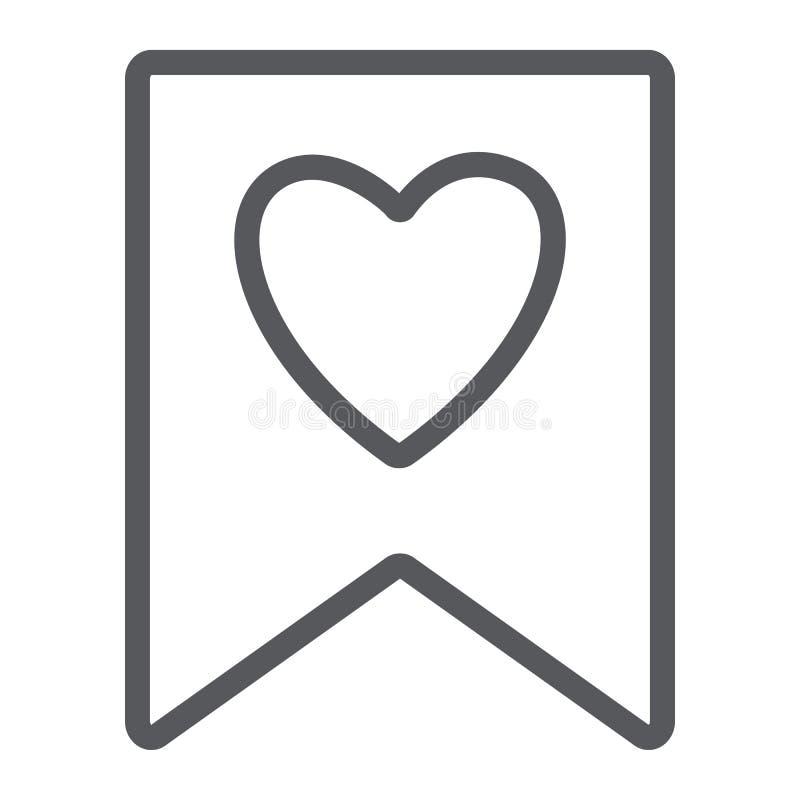 Lieblingslinie Ikone, Kennzeichen und Liebling, bookmarken mit Herzzeichen, Vektorgrafik, ein lineares Muster auf einem weißen vektor abbildung