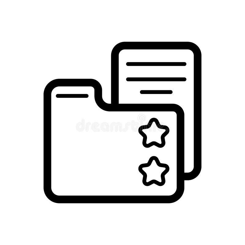 Lieblingsordner mit Sternzeichen-Vektorikone Ordner mit Dokumentenillustration Lineare Ikone des Entwurfs vektor abbildung