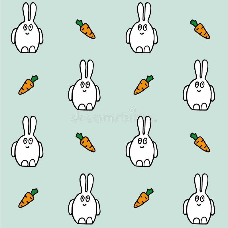 Liebres con la zanahoria Modelo incons?til del vector Textura del dibujo de la mano stock de ilustración