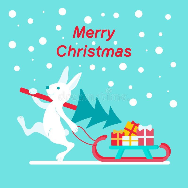 Liebres con un árbol de navidad y los regalos en un trineo libre illustration