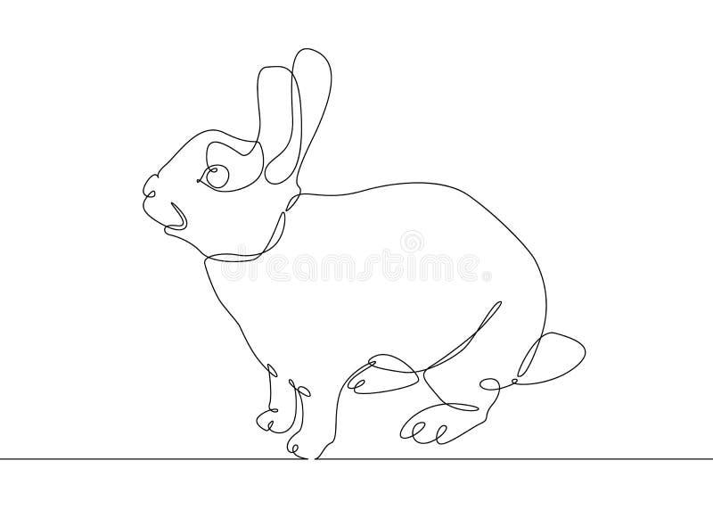 Liebres continuas del conejo del dibujo lineal ilustración del vector
