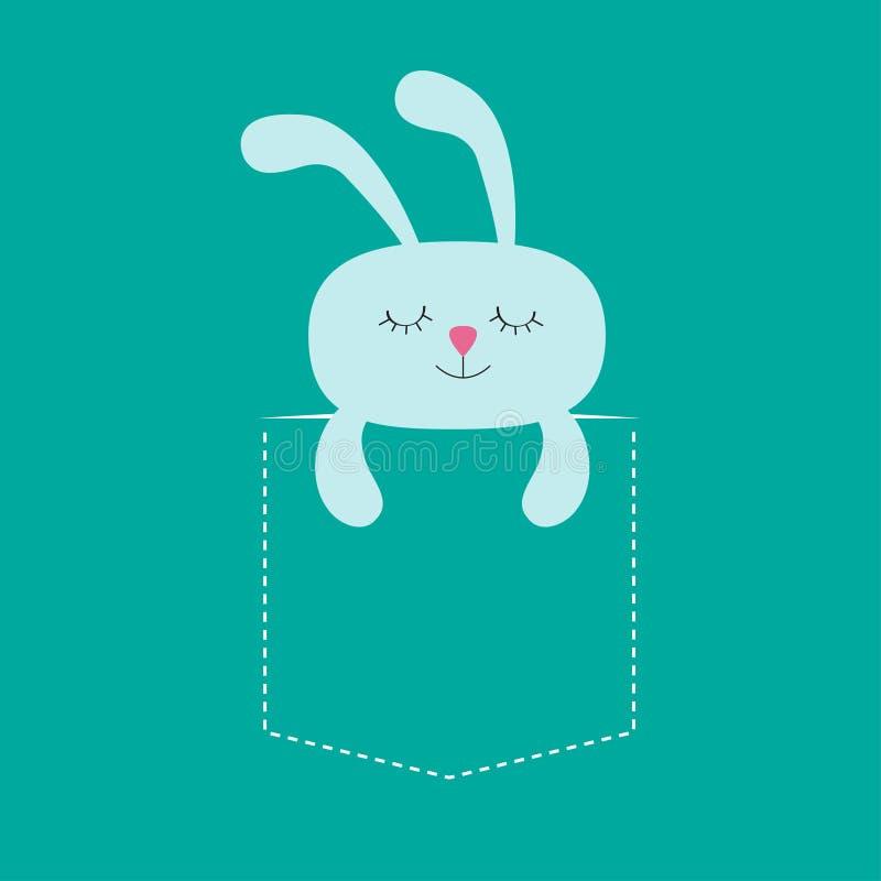 Liebres del conejo que duermen en el bolsillo Personaje de dibujos animados lindo Línea de la rociada Colección del animal del bo libre illustration