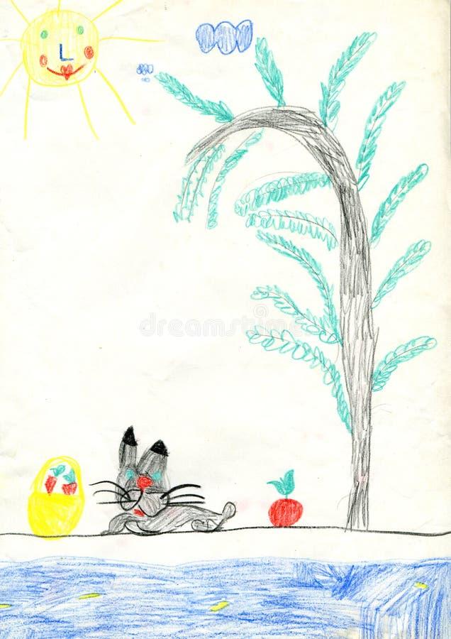 Liebres y manzanas stock de ilustración