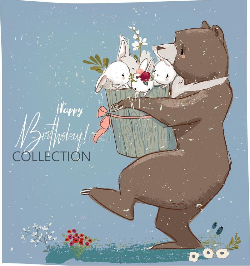 Liebres y oso lindos del cumpleaños stock de ilustración