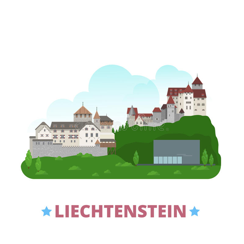Liechtenstein country design template Flat cartoon. Liechtenstein country design template. Flat cartoon style historic sight showplace web site vector royalty free illustration