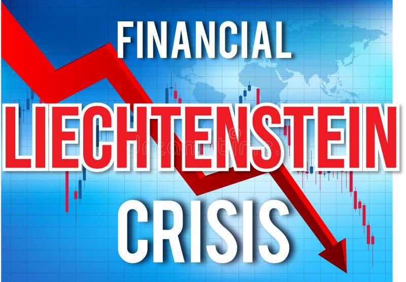 Liechtenstein Financial Crisis Economic Collapse Market Crash Global Meltdown. Illustration royalty free illustration