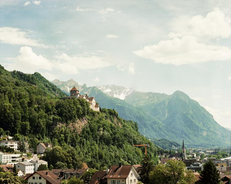 Liechtenstein mountain landscape, castle royalty free stock photo
