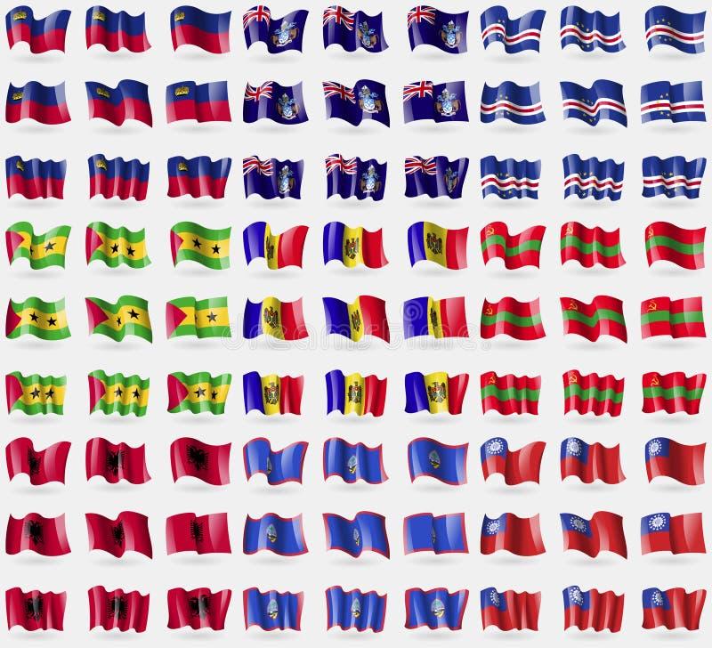 Liechtenstein, Tristan da Cunha, Kaapverdië, Sao Tomé en Principe, Moldavië, Transnistria, Albanië, Guam, MyanmarBurma Grote reek vector illustratie