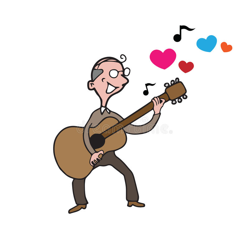Lied van de de gitaarliefde van de mensen het oude mens stock illustratie