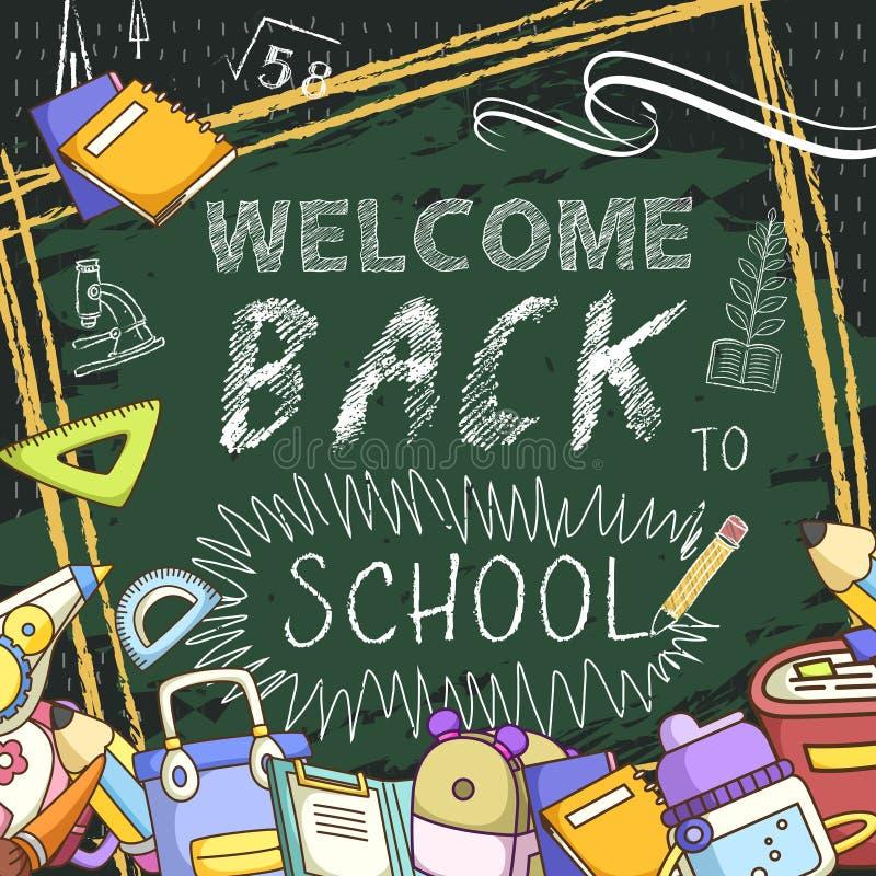 Lief onthaal terug naar schoolachtergrond stock illustratie