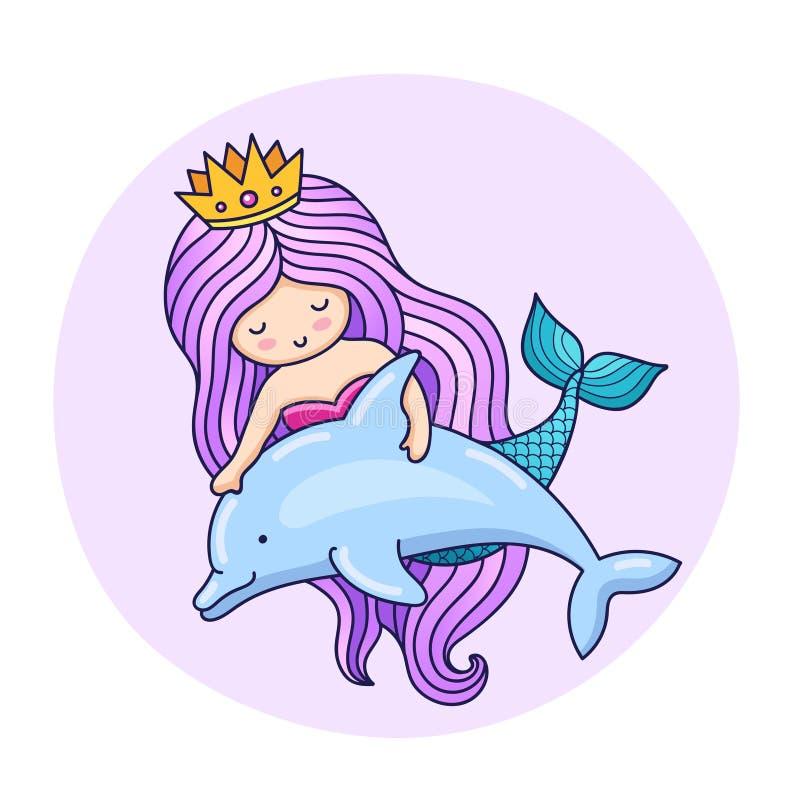 Lief weinig meermin, die met dolfijn drijven vector illustratie