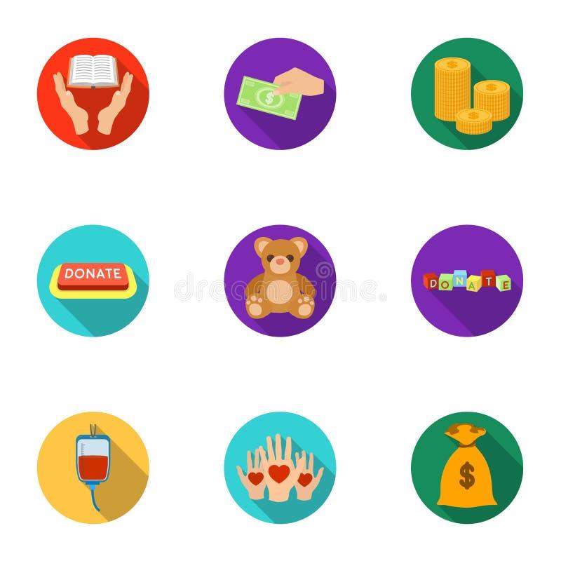 Liefdadige Stichting Pictogrammen bij het helpen van mensen en schenking Liefdadigheid en schenkingspictogram in vastgestelde inz royalty-vrije illustratie