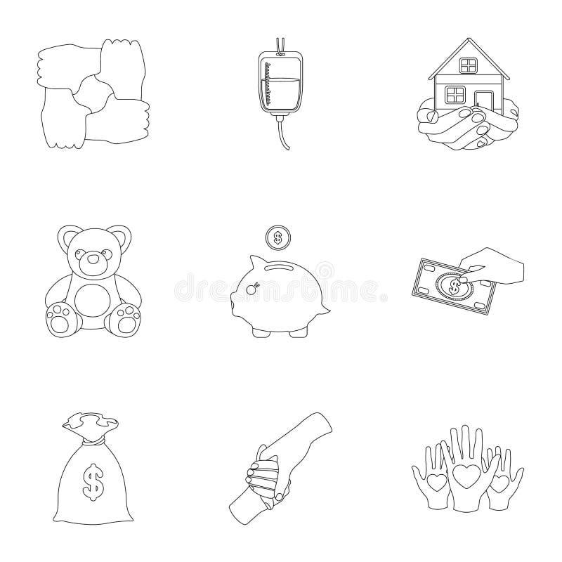Liefdadige Stichting Pictogrammen bij het helpen van mensen en schenking Liefdadigheid en schenkingspictogram in vastgestelde inz stock illustratie