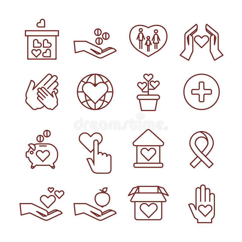 Liefdadigheid die, sponsoring, humanitaire schenking, geld aan kind vector lineaire pictogrammen geven royalty-vrije illustratie