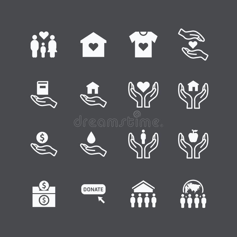 Liefdadigheid en schenkings vlakke het ontwerpvector van silhouetpictogrammen stock illustratie