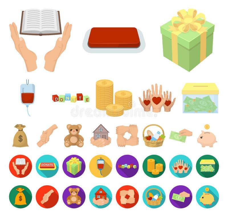 Liefdadigheid en schenkingsbeeldverhaal, vlakke pictogrammen in vastgestelde inzameling voor ontwerp Illustratie van het de voorr vector illustratie