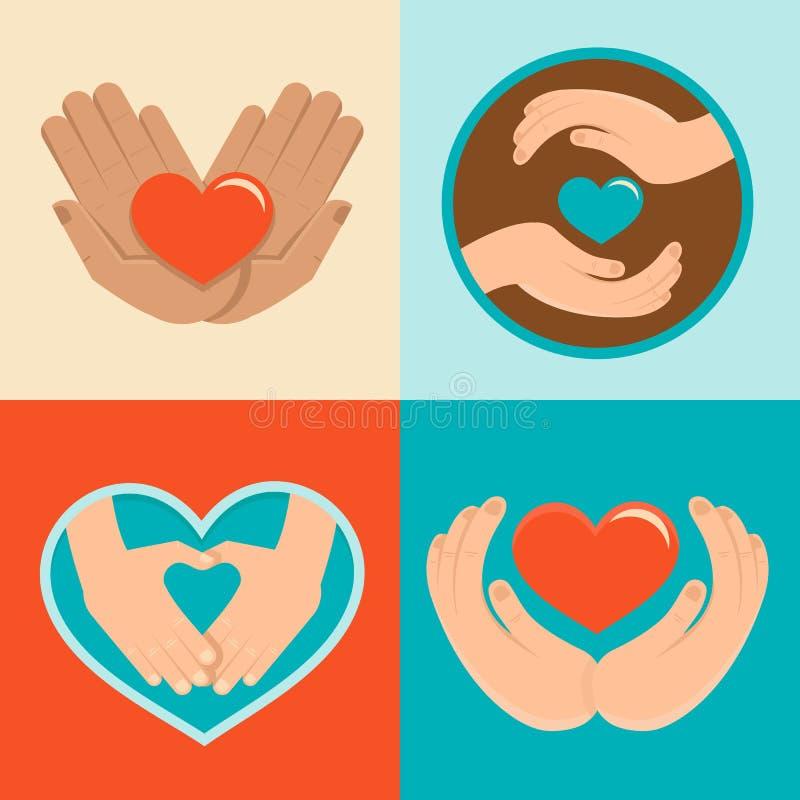 Liefdadigheid en vrijwilligerstekens in vlakke stijl vector illustratie