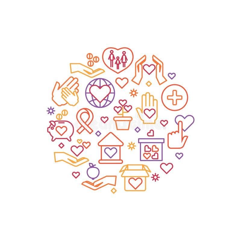 Liefdadigheid, zorg, hulp vectorconcept, embleem zonder winstbejag en vrijwilligers vector illustratie