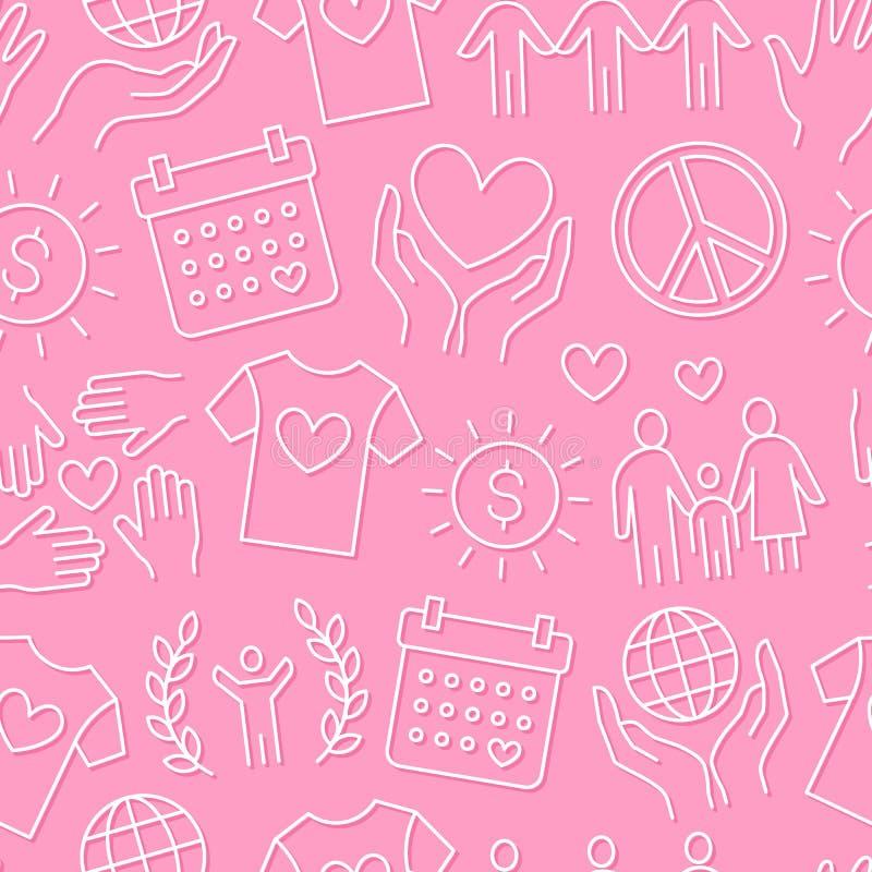 Liefdadigheids vector naadloos patroon met vlakke lijnpictogrammen Schenking, organisatie die zonder winstbejag, NGO, hulpillustr vector illustratie
