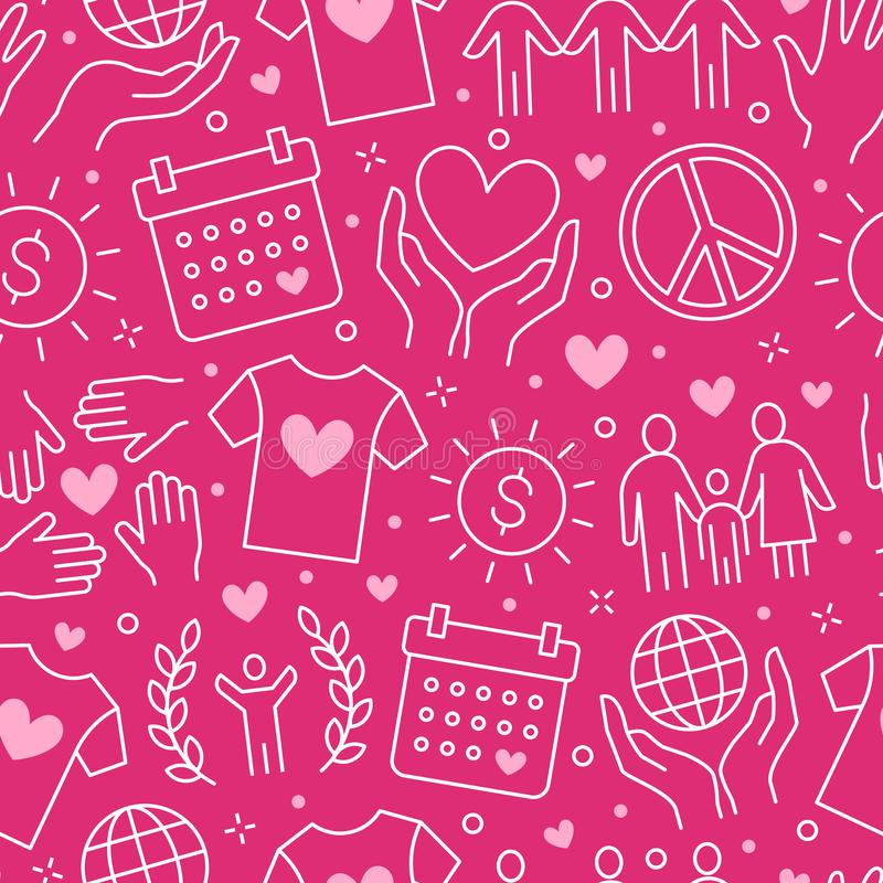 Liefdadigheids vector naadloos patroon met vlakke lijnpictogrammen Schenking, organisatie die zonder winstbejag, NGO, hulpillustr stock illustratie