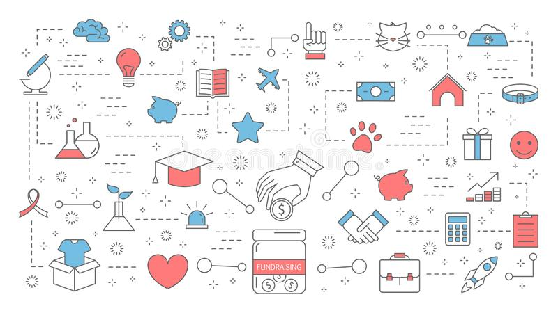 Liefdadigheidsinstellingsconcept Idee van liefdadigheid en schenking stock illustratie