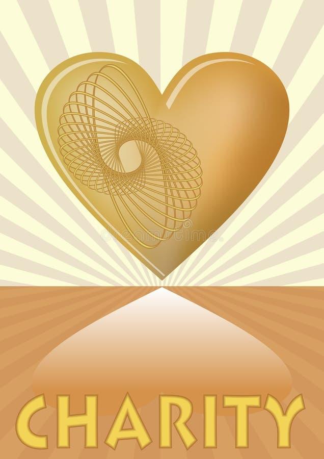 Liefdadigheidspamflet met gouden hart op achtergrond met gouden stralen vector illustratie