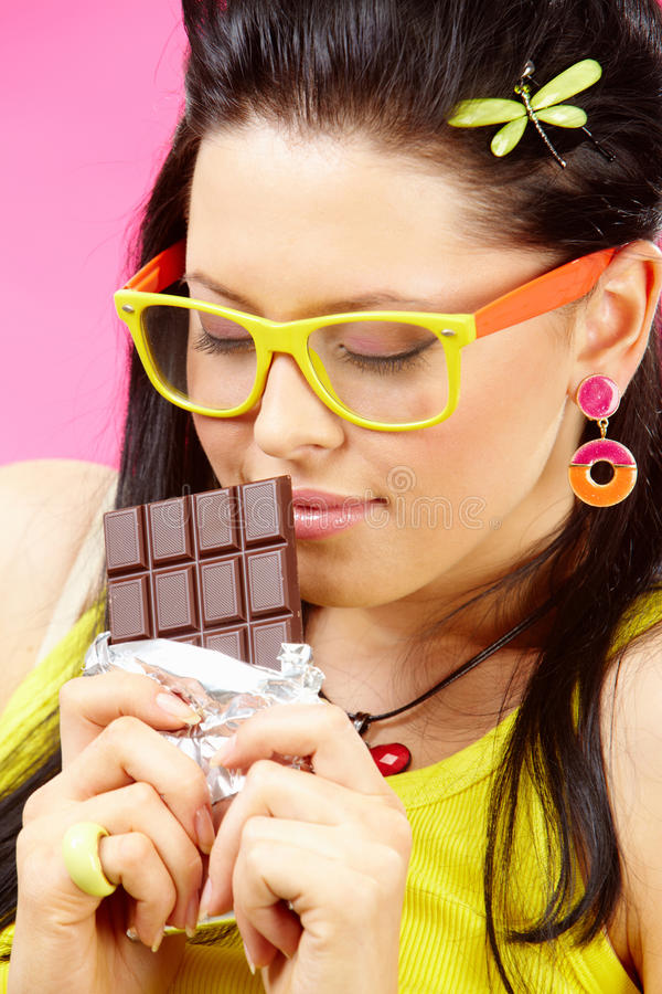 Liefde aan chocolade stock foto's