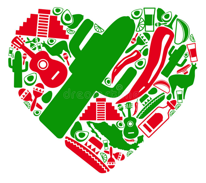 Liefde aan Mexico stock illustratie